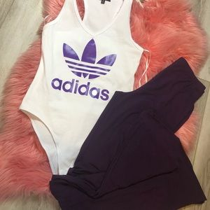 Adidas Bodysuit & Purple Flair Pants